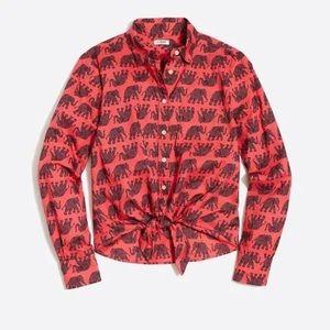 NEW J. Crew Elephant Print Tie Front Shirt Medium